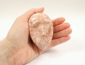 Onyx Egg Head Rose Pink Carved Stone Sad Face