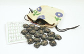 Green Black Jasper Rune Stone Set With Pouch