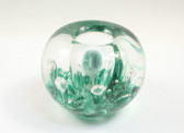 Green Glass Paperweight Candleholder Penholder