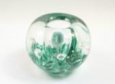 Green Glass Paperweight Candleholder Penholder