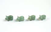 Aventurine Pig Green Beads Set of 4 with 1.3mm Hole