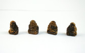 Tiger's Eye Buddha Brown Stone Beads Set of 4 with 1.3mm Hole