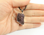 Amethyst Pendant Purple Druze Cluster Silver Pendant with Cord