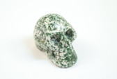 Skull Green Tree Agate Green and White Stone Carving