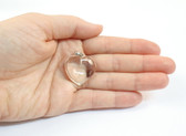 Quartz Crystal Heart Pendant Sterling Silver Clear Stone Pendant