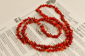Red Coral Necklace Chip Beads Nuggets Long Strand 32 Inch with Clasp