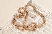 Crazy Lace Agate Necklace Chip Beads Nuggets Long Orange Brown Gray Strand 35 Inch with Clasp