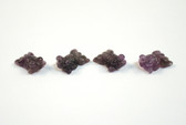 Amethyst Fish Beads Purple Stone Animal Beads Set of 4 with 1.3mm Hole