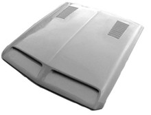 M-319 1967-1968 Ford Mustang Fiberglass Hood with 1968 Ford Shelby Style Hood Scoop and Vents (Fits Regular Ford Mustang)