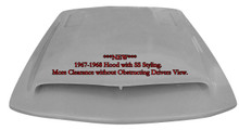 "M-322 ""NEW"" 1967-1968 Ford Mustang Fiberglass Hood with SS Styling. This hood affords extra room under the hood for clearance for those higher manifolds or custom engines. 3 1/4"" depth measurement at shock towers and 4 1/2"" towards the back."