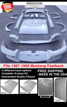 "1967-1968 Ford Mustang ""E"" Fastback 18 piece Body Kit"