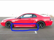 99-04 mustang side skirts for side exit exhasut
