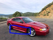 1994-1998 Mustang SVO style side skirts for side exit exhaust