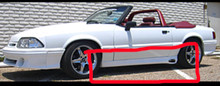 1987-1993 Mustang SVO style side skirts for side exit exhaust