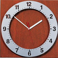"15"" Square Wall Clock with Round ""Floating"" Face - Peter Pepper Model 325 - Analog"