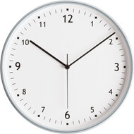 "11.75"" Round Wall Clock with Aluminum Finish Bezel - Peter Pepper Model 343 - Analog"