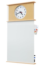 "Model MC - 24""w x 45""h Message Center - Writing Surface with Clock"