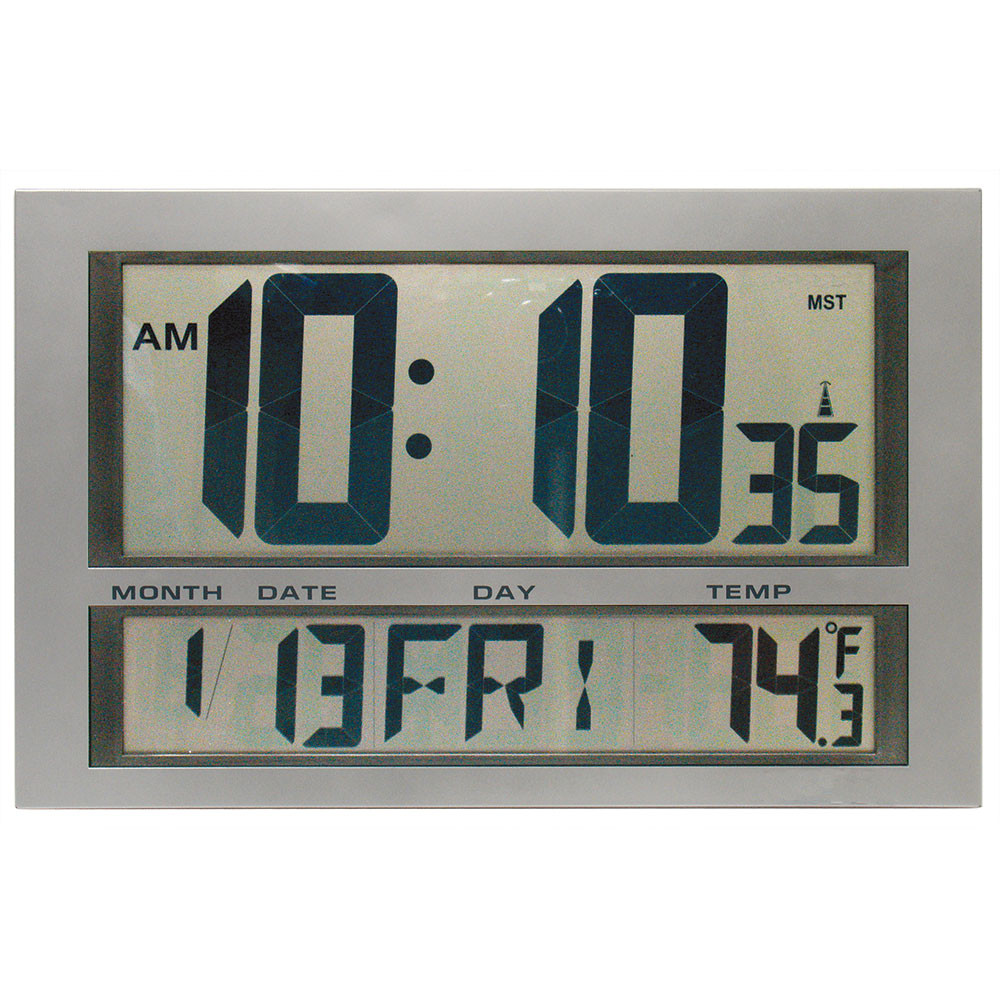 Rectangular Digital Wall Clock with Date and Temperature - 2 4 GHz Wireless  - Peter Pepper Model WC300