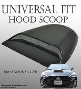 ICBEAMER Black Hood Scoop AERO DYNAMIC Speed Racer Waterproof FLOW w/ 3M tape No Drill Universal Fit For Auto Vehicle