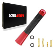 "ICBEAMER 3"" 76 mm Aluminum Red w/ Carbon Fiber Universal AM/FM Radio Antenna Screw-in Stubby Aerial Replacement"