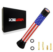 "ICBEAMER 3"" 76mm Mini United States Country Flag Patriotic Style Aluminum Universal Auto Vehicle Car Radio Antenna"