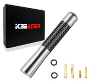 "ICBEAMER 3"" 76 mm Aluminum Silver w/ Carbon Fiber Universal AM/FM Radio Antenna Screw-in Stubby Aerial Replacement 1pc"