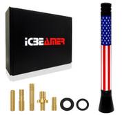 "ICBEAMER 5"" Mini United States Country Flag Patriotic Style Aluminum Universal Auto Vehicle Car Radio Antenna 1 pc"