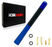 "ICBEAMER 5"" 127 mm Aluminum Blue w/ Real Carbon Fiber Universal AM/FM Radio Antenna Screw-in Stubby Aerial Replacement"