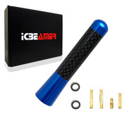"ICBEAMER 3"" 76 mm Aluminum Blue w/ Carbon Fiber Universal AM/FM Radio Antenna Screw-in Stubby Aerial Replacement"