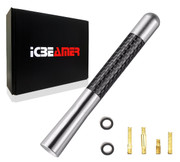 "ICBEAMER 5"" 127 mm Aluminum Silver w/ Carbon Fiber Universal AM/FM Radio Antenna Screw-in Stubby Aerial Replacement"