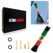 ICBEAMER 3 inch / 76 mm MINI Mexican Mexico Flag Aluminum Universal Car Auto Radio Antenna Replacement