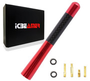 "ICBEAMER 5"" 127 mm Aluminum Red w/ Carbon Fiber Universal AM/FM Radio Antenna Screw-in Stubby Aerial Replacement"