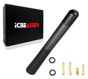 "ICBEAMER 5"" 127 mm Aluminum Matte Black w/ Carbon Fiber Universal AM/FM Radio Antenna Screw-in Stubby Aerial Replacement"