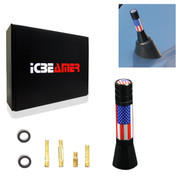 "ICBEAMER 2"" Mini Size United States Country Flag Patriotic Style Aluminum Universal Auto Vehicle Car Radio Antenna 1 pc"
