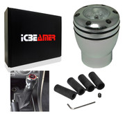 ICBEAMER JDM Racing Style Manual Transmission Stick Shift Knob Silver Aluminum 5 6 Speed w/ Red LED Light CR2032 Battery