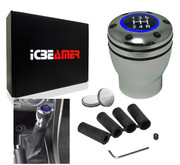 ICBEAMER JDM Racing Style Silver Aluminum Manual Transmission Gear Stick Shift Knob with Blue LED Light Top Glow & 2 pcs CR2032 Battery