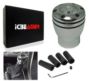 ICBEAMER JDM Racing Style Stick Gear Shifter Knobs with White LED Light, Aluminum Silver Manual Short Throw Shift Knob 5 6 Speed