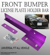 TMZ Purple Aluminum Bumper Front License Plate Mount Relocate Bracket Holder K154