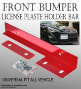 TMZ Red Aluminum Bumper Front License Plate Mount Relocate Bracket Holder K154