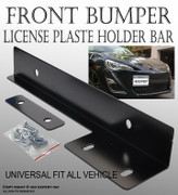 JDM Black Aluminum Bumper Front License Plate Mount Relocate Bracket Holder Y231