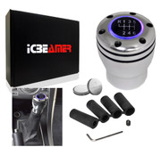 ICBEAMER JDM Racing Style Silver Aluminum Manual Transmission Gear Stick Shift Knob with Purple LED Light Top Glow & 2 pcs CR2032 Battery