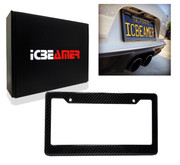 ICBEAMER Waterproof Black Plastic with Gloss Carbon Fiber on top Auto Truck Van Sedan License Plate Frame [Pack of 1 pc]