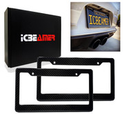 ICBEAMER License Plate Frames- Gloss Real Carbon Fiber + High Quality Waterproof Black Plastic For Auto Vehicle Truck Van [Pack 2 pcs]