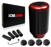 ICBEAMER Drifting Racing Style Red Heavy Aluminum with Real Carbon Fiber Manual Gear Stick Shift Knob 5 6 Speeds pattern
