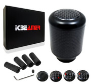 ICBEAMER Racing Style Matte Black Aluminum Carbon Fiber Manual Shifter Gear Shift Knob 5 6 Speeds pattern [Black]