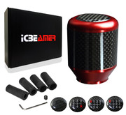 ICBEAMER Racing Style Red Aluminum w/ Carbon Fiber Mini Short Throw Shifter Manual Stick Shift Knob 5 6 Speeds pattern