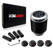 ICBEAMER Silver Aluminum with Real Carbon Fiber Manual Stick Sifter Gear Lever Shift Knob with 5 6 Speed pattern