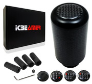 ICBEAMER Racing Styles AluminumReal Carbon Fiber Manual Gear Stick Shift Knob 5 6 Speeds pattern [Color: Metric Black]