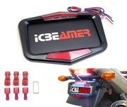 ICBEAMER Waterproof Universal Fit most Motorcycle License Plate Frame w/ 6+ Flashing LED Tail +Brake Light [Matte Black]