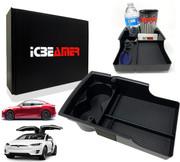 ICBEAMER Carbon Fiber Pattern Center Console Organizer, Storage Box Coins Cup Holder Fit:Tesla Model S/Model X 2016~2020